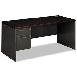 "Hon 38000 Series Left Pedestal Desk, 66"" x 30"", Mahogany/Charcoal"