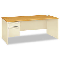 Hon 38000 Series Left Pedestal Desk, 72w x 36d x 29-1/2h, Harvest/Putty