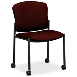 Hon 4070 Series Mobile Armless Guest Chair, Wine