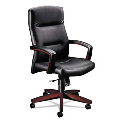 Hon 5000 Series Executive High Back Swivel/Tilt Chair, Black Leather/Mahogany