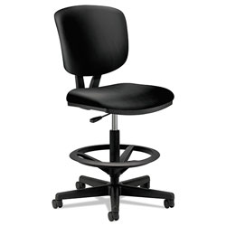 Hon Volt Series Adjustable Task Stool, Black Leather