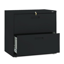 "Hon 500-Series 2 Drawer Metal Lateral File Cabinet, 30"" Wide, Black"