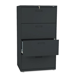 "Hon 500-Series 4 Drawer Metal Lateral File Cabinet, 30"" Wide, Black"