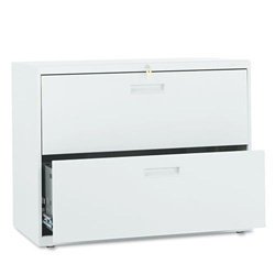 "Hon 500-Series 2 Drawer Metal Lateral File Cabinet, 36"" Wide, Gray"