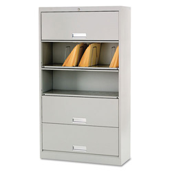 Hon 600 Series Five-Shelf Steel Receding Door File, 36w x 13-3/4d x 64-1/4h, Gray