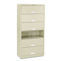 "Hon 600 Series File Shelf, 36"", 6 Shelves, Legal Size, Beige"