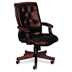 Hon 6540 Series Executive High Back Swivel Chair, Oxblood Vinyl Upholstery
