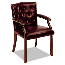 Hon 6540 Series Guest Arm Chair, Oxblood Vinyl Upholstery