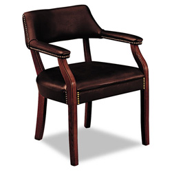 Hon 6500 Series Guest Arm Chair, Oxblood Vinyl Upholstery