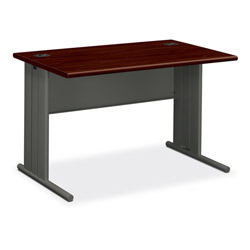 Hon Stationmaster Computer Desk, Mahogany Top/Charcoal Base, 48w x 29-1/2d