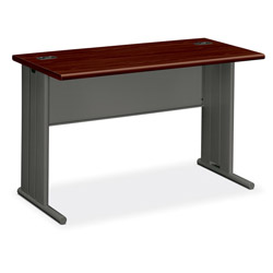 Hon Stationmaster Computer Desk, Mahogany Top/Charcoal Base, 48w x 24d
