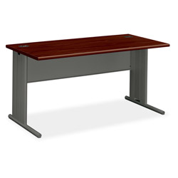 Hon Stationmaster Computer Desk, Mahogany Top/Charcoal Base, 60w x 29-1/2d