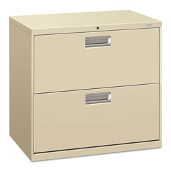 "Hon 600-Series 2 Drawer Metal Lateral File Cabinet, 30"" Wide, Beige"