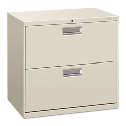 "Hon 600-Series 2 Drawer Metal Lateral File Cabinet, 30"" Wide, Gray"