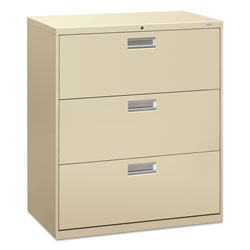 "Hon 600-Series 3 Drawer Metal Lateral File Cabinet, 36"" Wide, Beige"