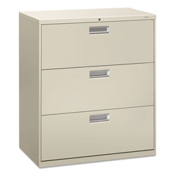 "Hon 600-Series 3 Drawer Metal Lateral File Cabinet, 36"" Wide, Gray"
