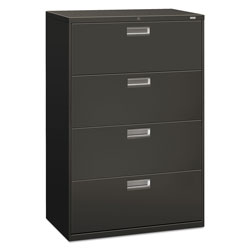 "Hon 600-Series 4 Drawer Metal Lateral File Cabinet, 36"" Wide, Dark Gray"