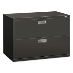 "Hon 600-Series 2 Drawer Metal Lateral File Cabinet, 42"" Wide, Dark Gray"