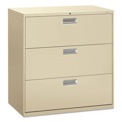 "Hon 600-Series 3 Drawer Metal Lateral File Cabinet, 42"" Wide, Beige"