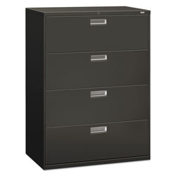 "Hon 600-Series 4 Drawer Metal Lateral File Cabinet, 42"" Wide, Dark Gray"