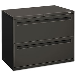 "Hon 700-Series 2 Drawer Metal Lateral File Cabinet, 36"" Wide, Dark Gray"