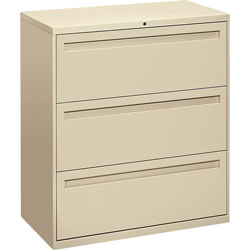 "Hon 700-Series 3 Drawer Metal Lateral File Cabinet, 36"" Wide, Beige"