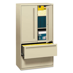 "Hon 700-Series 5 Drawer Metal Lateral File Cabinet, 36"" Wide, Beige"