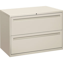 "Hon 700-Series 2 Drawer Metal Lateral File Cabinet, 42"" Wide, Gray"