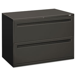 "Hon 700-Series 2 Drawer Metal Lateral File Cabinet, 42"" Wide, Dark Gray"