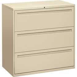 "Hon 700-Series 3 Drawer Metal Lateral File Cabinet, 42"" Wide, Beige"