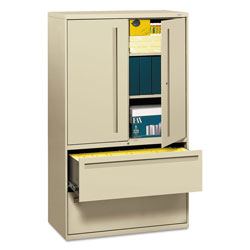 "Hon 700-Series 5 Drawer Metal Lateral File Cabinet, 42"" Wide, Beige"