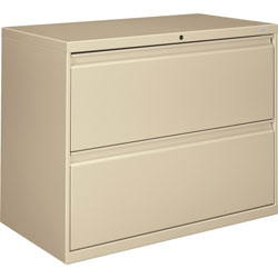 "Hon 800-Series 2 Drawer Metal Lateral File Cabinet, 36"" Wide, Beige"