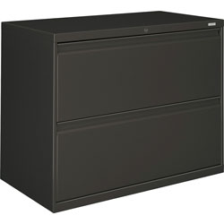 "Hon 800-Series 2 Drawer Metal Lateral File Cabinet, 36"" Wide, Dark Gray"