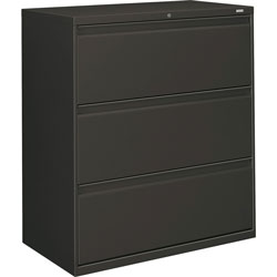 "Hon 800-Series 3 Drawer Metal Lateral File Cabinet, 36"" Wide, Dark Gray"