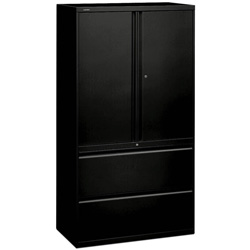 "Hon 800-Series 2 Drawer Metal Lateral File Cabinet, 36"" Wide, Black"