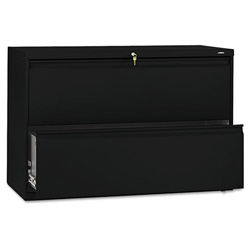 Hon 800-Series 2 Drawer Metal Lateral File Cabinet, 42x19-1/4x28-3/8, Black