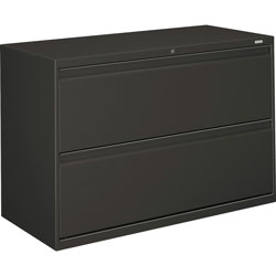 "Hon 800-Series 2 Drawer Metal Lateral File Cabinet, 42"" Wide, Dark Gray"