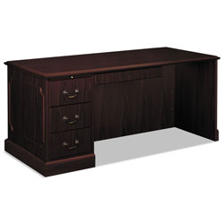 "Hon 94000 Series ""L"" Workstation Desk for Right Return, Mahogany, 66 x 30"