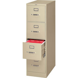 "Hon H320 Series 26 1/2"" Deep Full Suspension File, Four Drawer, Letter, Putty"