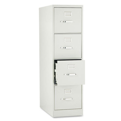 "Hon H320 Series 26 1/2"" Deep Full Suspension File, Four Drawer, Letter, Light Gray"