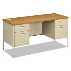 Hon Metro Series Kneespace Credenza, 60w x 24d x 29-1/2h, Harvest/Putty