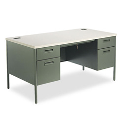 "Hon Metro Classic Series Double Pedestal Desk, 60"" x 30"", Gray/Charcoal"