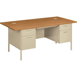 "Hon Double Pedestal Desk, 72"" x 36"" x 29 1/2"", Harvest/Putty"