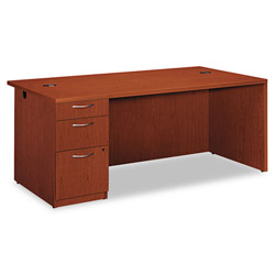 Hon Park Avenue Laminate Left Pedestal Desk, 72w x 36d x 29h, Henna Cherry