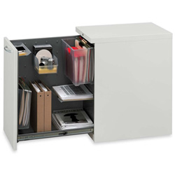 "Hon Flagship Left Side Access Pedestal File Cabinet, 15"" x 22-7/8"" x 28"", Light Gray"