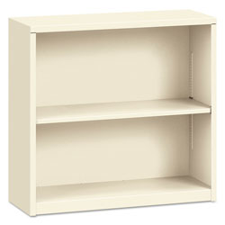 "Hon Metal Bookcase, 29"" High, One Adjustable, One Fixed Shelf, Putty"