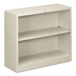 "Hon Metal Bookcase, 29"" High, One Adjustable, One Fixed Shelf, Light Gray"