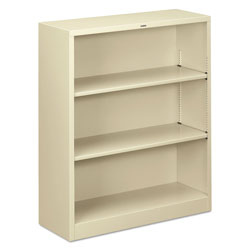 "Hon Metal Bookcase, 3 Shelves, 34 1/2""x12 5/8""x41"", Putty"