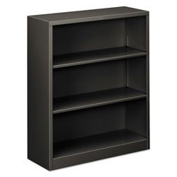 "Hon Metal Bookcase, 41"" High, Two Adjustable, One Fixed Shelf, Charcoal"
