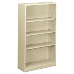 "Hon Metal Bookcase, 4 Shelves, 34 1/2""x12 5/8""x59"", Putty"